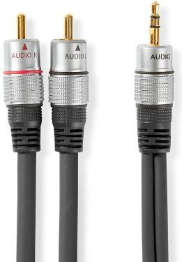 Nedis Stereo Audio Cable   3.5 mm Male - 2x RCA Male   5.00 m   Anthracite, CAGC22200AT50