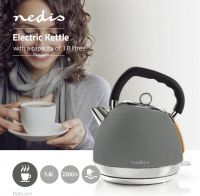 Nedis Electric Kettle | 1.8 L | Soft-Touch | Grey, KAWK520EGY