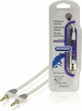 Bandridge Stereo Audio Kabel 3.5 mm Han - 3.5 mm Han 2.00 m Hvid, BBM22000W20