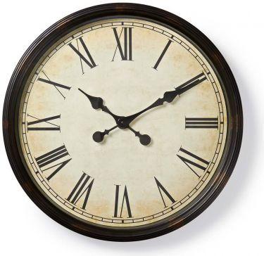 Nedis Circular Wall Clock | 50 cm Diameter | Antique-Style | Black, CLWA008WD50BK