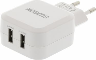 Sweex Wall Charger 2-Outputs 4.8 A 2x USB White, CH-006WH