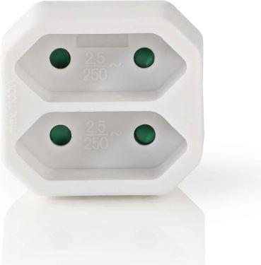 Nedis Power Socket Splitter   2-Way   Euro Socket   White, PSSPL200C1WT