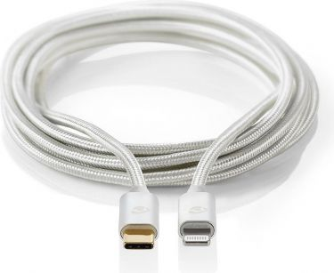Nedis Apple Lightning-kabel | Apple Lightning 8-bens hanstik - USB-C | 2,00 m | Aluminium, CCTB39650