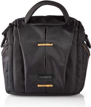 Nedis Camera Shoulder Bag | 152 x 146 x 65 mm | 2 Inside pockets | Black / Orange, CBAG200BK