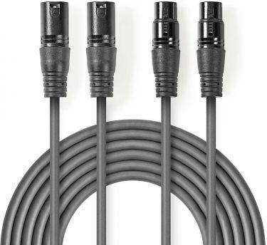 Nedis Balanced XLR Audio Cable | 2x XLR 3-Pin Male - 2x XLR 3-Pin Female | 5.0 m | Grey, COTH15030GY