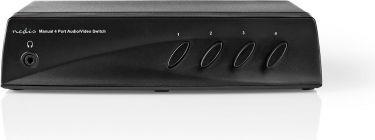 Nedis AV-switch | 4 x (RWY) + 4x S-Video - 1 x RCA (RWY) + Hovedtelefonudgang Hunstik | Sort, VSWI24