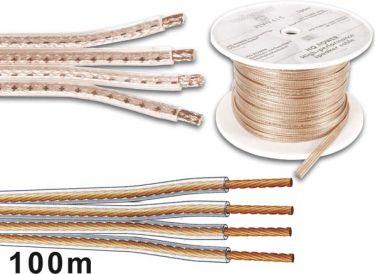 Højttalerledning 4 x 1,5mm², Transparent (metervare)