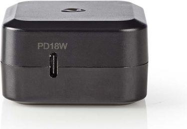 Nedis Vægoplader | 3.0 A | USB-C | Power Delivery 18 W | Sort, WCPD18W100BK