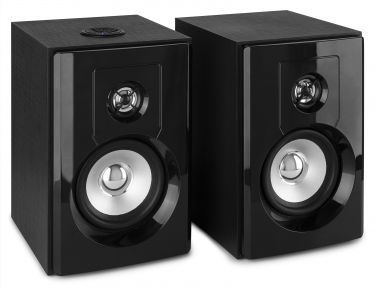 "SHF404B Powered BT Bookshelf Speakers 4"" MP3"