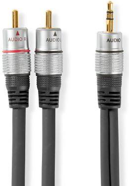 Nedis Stereolydkabel | 3,5 mm hanstik - 2 x RCA-hanstik | 10,0 m | Grå, CAGC22200AT100