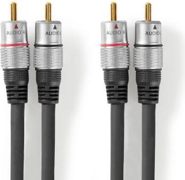 Nedis Stereolydkabel | 2 x RCA-hanstik - 2 x RCA-hanstik | 10,0 m | Grå, CAGC24200AT100