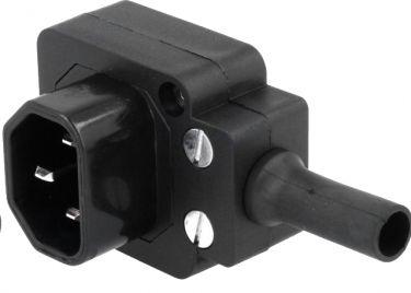 Apparatstik IEC320-C14, 3 pol han, 90° ned, Sort