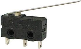 Mikroswitch m. lang arm 3A/250V, ON-(ON) SPDT, loddeben