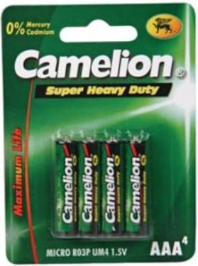 "<span class=""c2"">Camelion -</span> Camelion Zink Carbon AAA/R3 1,5V-450mAh (4 stk.)"