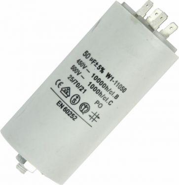 MOTOR kondensator 50uF / 450V, M8 forskruning, Spadestik
