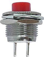 Mini trykkontakt OFF-(ON) 1A / 250V, Rød