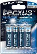 "Batterier og tilbehør, <span class=""c10"">Tecxus -</span> Alkaline AA/LR6 batteri 1,5V (4 stk.)"