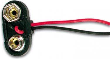 Battericlips til 9V E-blok batteri T type, hård