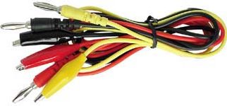 "<span class=""c10"">Velleman -</span> Testledningssæt Banan til krokodille, Rød/gul/sort (90cm)"