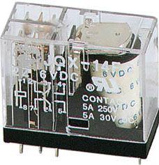 Vertikalt relæ 12VDC / 5A, 2 x omskifter (DPDT)