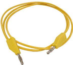 """<span class=""""c10"""">Velleman -</span> Testledning m. bananstik 4mm, stabelbar, Gul (1m)"""