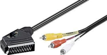 A/V kabel SCART han til 3 x RCA(Phono) han, 2-vejs (3m)