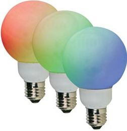 "<span class=""c9"">HQ Power -</span> G60 LED pære 230VAC / 1W RGB farveskift, E27 (1 stk.)"