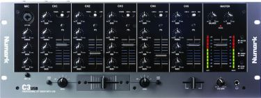 Numark C3, 5-Channel Mobile DJ Rack Mixer with USB I/O