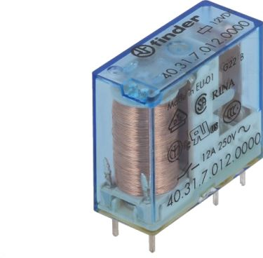 Vertikalt relæ 12VDC / 10A, 1 x omskifter (SPDT)