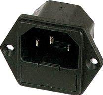 Apparatfatning 3 pol C14 han, m. sikringsholder, Sort