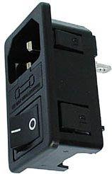 Apparatfatning 3 pol C14 han, m. kontakt og sikring, sort