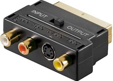 SCART IN/OUT adapter SCART han > 3 x RCA +S-VHS, forgyldt