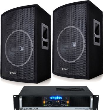 """Højttalersystem Pro 600Watt / 12"""" bas med forstærker, inkl. alle kabler"""