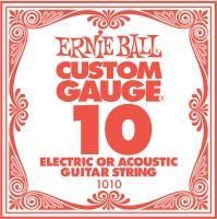 Ernie Ball EB-1010, Single .010 Plain Steel string for Electric or