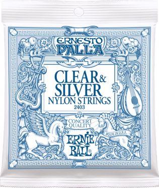 Ernie Ball EB-2403, Clear & Silver nylon strings. Medium tension