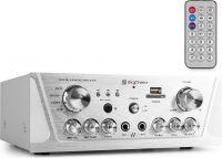 Stereo Hi-Fi Forstærker med FM Radio / Karaoke / USB / SD / MP3, Sølv