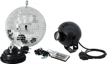 Eurolite Mirror Ball Set 20cm with LED RGB Spot RC