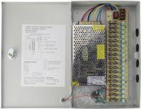 CCTV strømforsyning 12VDC / 12A stabilisert, 18 udgange