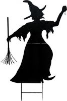 Europalms Silhouette Metal Witch with Broom, 150cm