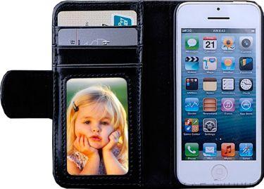 Læder flipcover m. kreditkortholder til iPhone 5/5S Sort
