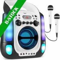 "SBS30W Karaoke System with CD and 2 Microphones White ""B-STOCK"""