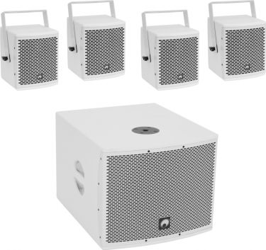 Omnitronic Set MOLLY-12A Subwoofer active + 4x MOLLY-6 Top 8 Ohm, white