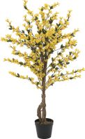 Europalms Forsythia tree with 3 trunks, artificial plant, yellow, 120cm