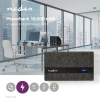 Nedis Fabric Powerbank | 10,000 mAh | 2x USB-A 2 A (max) | Black, FSPB10100BK