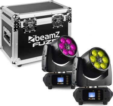 Fuze610Z Wash 6x 10W LED Moving Head Zoom Set 2 Pieces in Flightcase