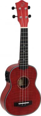 Dimavery UK-100 Soprano ukulele, flamed red