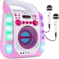 SBS30P Karaoke System with CD and 2 Microphones Pink