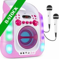 "SBS30P Karaoke System with CD and 2 Microphones Pink ""B STOCK"""