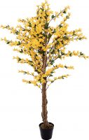 Europalms Forsythia tree with 3 trunks, artificial plant, yellow, 150cm