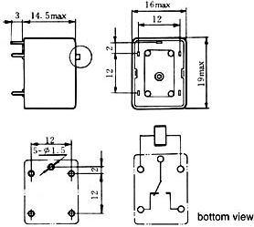 Super miniature relæ 12VDC / 3A, 1 x omsk. (HG4098)